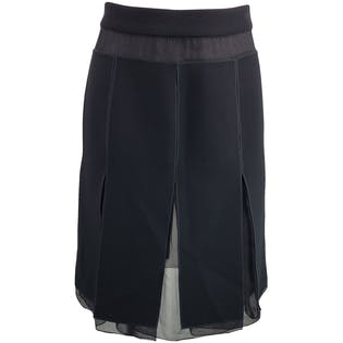 Box Pleated Skirt with Sheer Panels by Prada