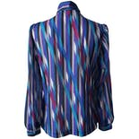 another view of Blue Graphic Button Up Blouse by Teddi of California