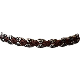 Braided Belt with Silver Metal Accents