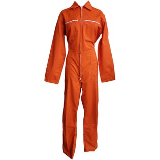 Bright Orange Coveralls with White Zippers