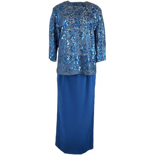 Bright Blue Two Piece with Sequin Top and Pencil Skirt by Christian Dior