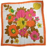 Bright Orange and White Floral Square Silk Scarf