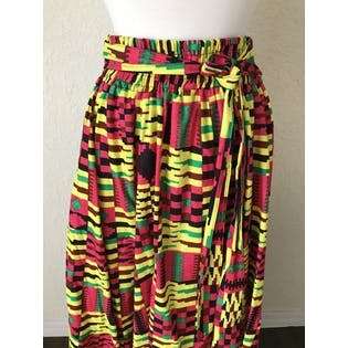 90's Bright Patterned Cotton Skirt