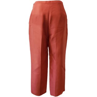 Bright Coral Silk Trousers by Ann Taylor