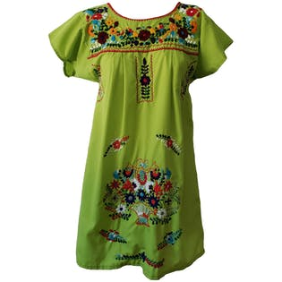 Bright Green Embroidered Mini Dress