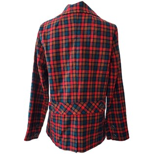 Bright Red and Blue Plaid Blazer