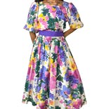 80's Square Neck Watercolor Floral Pleated Midi Dress by Willi of California