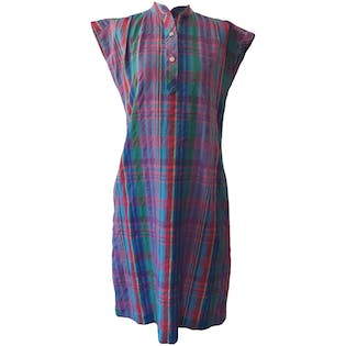 Brightly Colored Plaid Shift Dress by EJM