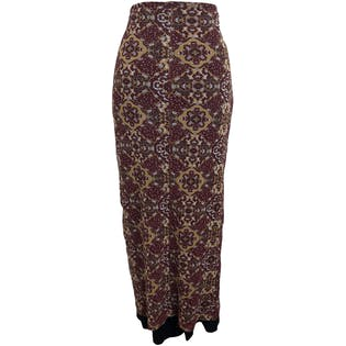 90's Brocade Print Stretch Maxi Skirt by Xoxo