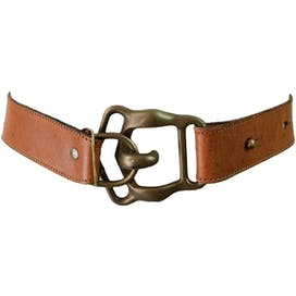 Brown Belt with Large Bronze Buckle