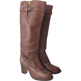 Brown Heeled Boots with Buckle Detailing
