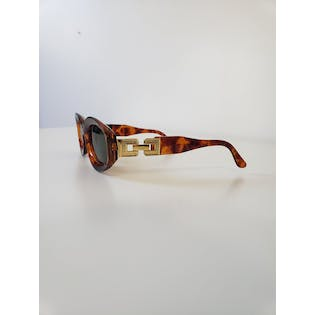 Brown Oval Sunglasses with Sunken Lenses