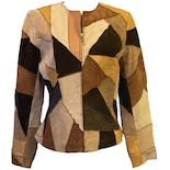 Patchy Brown and Tan Suede and Leather Zippered Blazer by Margaret Godfrey