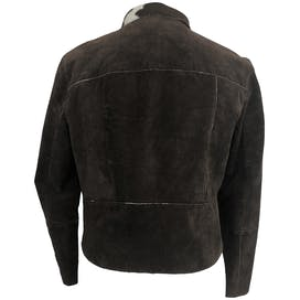 Brown Suede Jacket with Cow Print Trim by Newport News