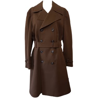 Brown Textured Double Breasted Trench Coat by London Fog