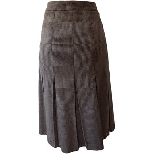 Brown and White Pleated Houndstooth Skirt by Brooks Brothers