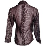 another view of Brown Animal Print Blouse with Back Zipper Closure by Cascadi