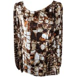 Brown, Cream and Orange Tile Print Long Sleeve Blouse by St. John