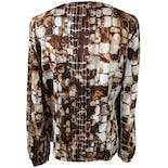 another view of Brown, Cream and Orange Tile Print Long Sleeve Blouse by St. John