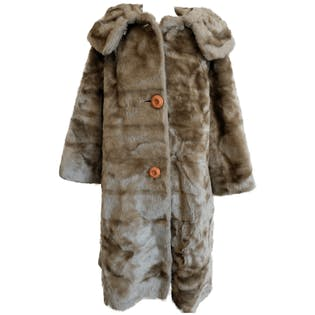Brown Fur Coat with Orange Buttons