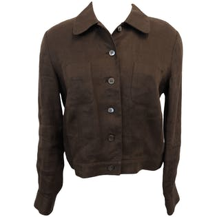 Brown Irish Linen Button Up Jacket by Talbots Petites