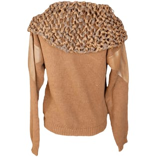 Brown Knir Sweater with Leather Patches and Braided Neck by Jennifer Reed