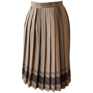 Brown Large Plaid Pleated Skirt by Changing Scene