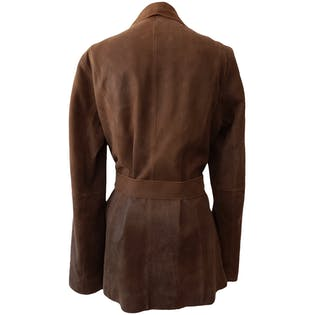 Brown Leather Coat with Belt by Wilsons Leather Pelle Studio