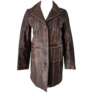 Brown Leather Trench with Cream Stitching by Wilsons Leather Maxima