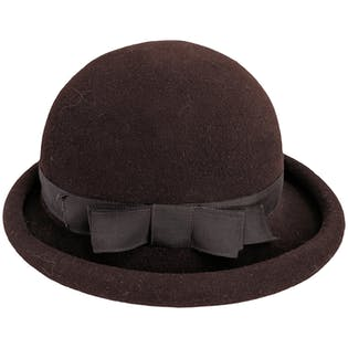 Brown Round Wool Hat by Adolfo II