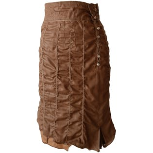 Brown Skirt with Exaggerated Stitching