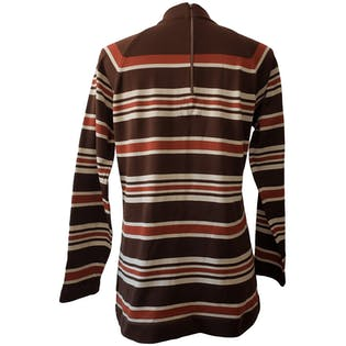 Brown Striped Mock Neck Top