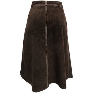 70's Brown Suede Button Down Skirt
