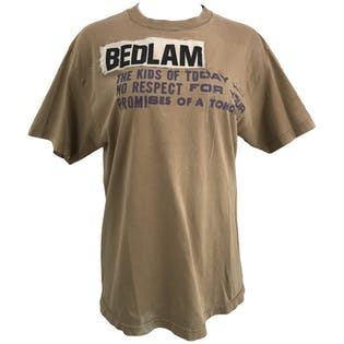 Brown T-Shirt with Patches and Purple Wording