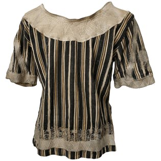 Brown Woven Short Sleeve Top
