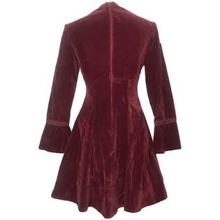 70's Burgundy Flared Sleeve Mini Dress by Toy Girl