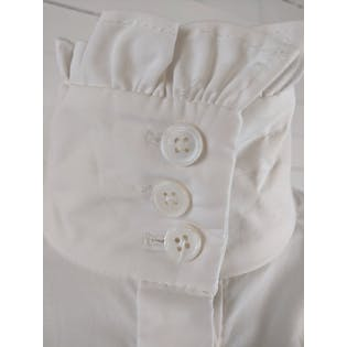 White Button Up with High Neck and Small Ruffle Trim by Nina Ricci