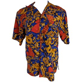 90's Blue Gold and Red Printed Short Sleeve Button Down by Kriss Kross Sport