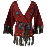 60's Red Wrap Sweater with Colorful Fringe