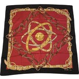 Iconic Red Silk Equestrian Logo Scarf by Celine