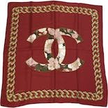 another view of CC Logo Red Silk Floral Scarf by Chanel