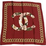 CC Logo Red Silk Floral Scarf by Chanel