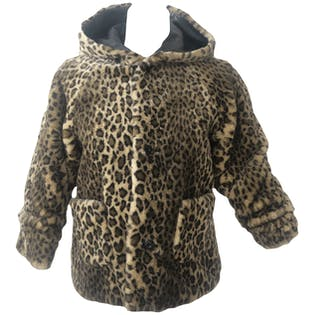 Cheetah Print Coat with Hood and Leather Inside Lining