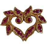 Christian Lacroix Couture Rhinestone Heart Brooch by Christian Lacroix