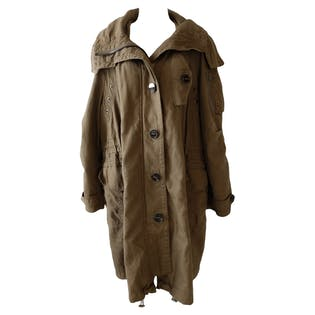 Olive Green Trench Coat with Hood by Burberry Brit