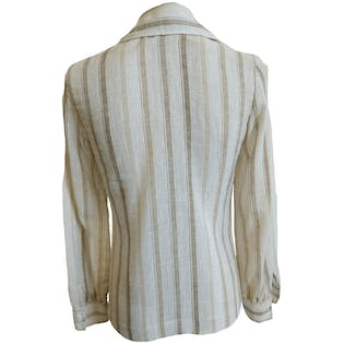 Beige and White Striped Long Sleeve Button Up Shirt by College Town