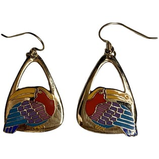 Colorful Toucan Dangle Earring by Laurel Burch