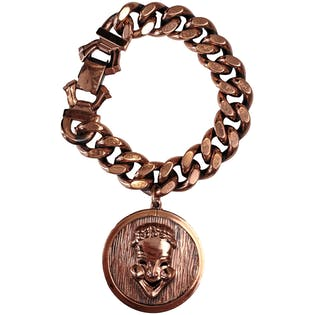 Copper Chain Bracelet with Comedy and Tragedy Mask Charm