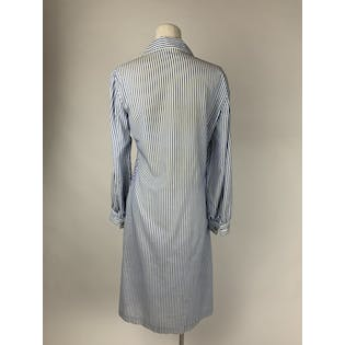 Cornflower Blue and White Striped Button Front Shirt Dress