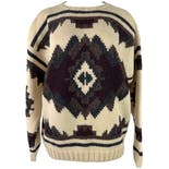 90's Cream Wool Sweater with Geometric Print by Banana Republic